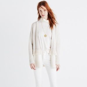 Madewell Colorblock Fringe Cardigan Sweater S